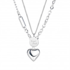 """Doubled steel necklace, silver colour - plate with inscripton """"Good Luck"""", shiny heart"""
