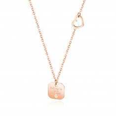 """Steel necklace, copper colour - slim chain, plate with inscriprion """"Falling in love for real"""""""