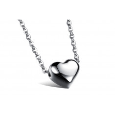 Necklace from steel of silver colour, small oval rings, mirror-gloss heart
