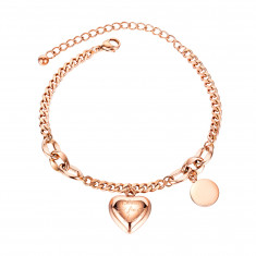 """Bracelet from steel of copper colour, heart with inscription """"Blind for Love"""", flat smooth ring"""