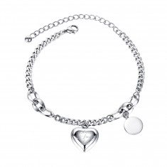 """Bracelet from steel of silver colour, heart with inscription """"Blind for Love"""", flat smooth ring"""