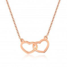 Steel necklace of copper colour, fine chain, two shapes of hearts tight together