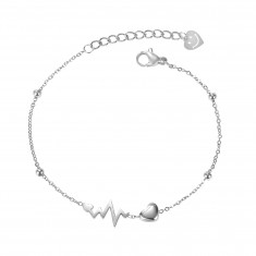 Bracelet made from steel of silver colour, shiny balls, heart, heartbeat, smiley