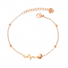 Bracelet from steel of copper colour, farby, shiny small balls, little heart, heartbeat, smiley
