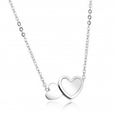 Necklace made from steel of silver colour, oval rings, two flat hearts,  mother-of-pearl, rainbow reflections