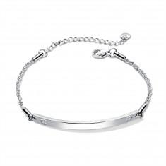 Steel bracelet of silver colour - oblong plate, engraved hearts, zircons