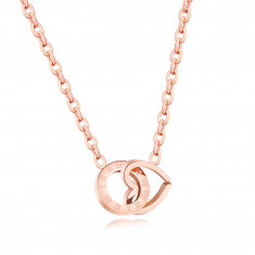 Steel necklace, linked contour of a heart and a circle, roman numerals, copper colour