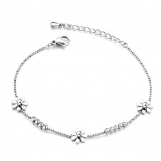 Bracelet from steel, three flowers, shiny balls, chain of angular cells, silver colour