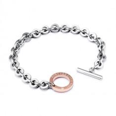 "Steel bracelet of silver colour - copper shape of a circle, inscription ""FOREVER LOVE YOU"", zircon"