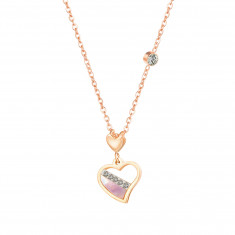 Steel necklace in copper colour, irregular shape of a heart, mother-of-pearl, clear zircons