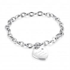 "Steel bracelet of silver colour, heart lock, inscription ""Forever you´re my love"", zircon"