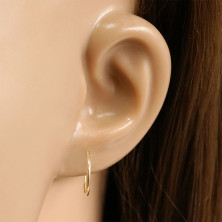 Earrings in 585 yellow gold – delicate hoops, glossy rounded surface, 12 mm