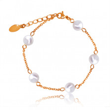 Steel bracelet in a copper colour, white pearlescent beads, chain