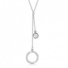 Steel necklace – large ring outline with crystals, flat ring, silver coloured pendants