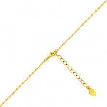 Steel necklace in a golden colour – bead chain, two crossed rings, pearlescent bead