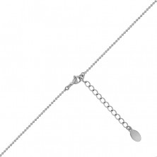 Steel necklace in a silver colour – bead chain, two crossed rings, pearlescent bead