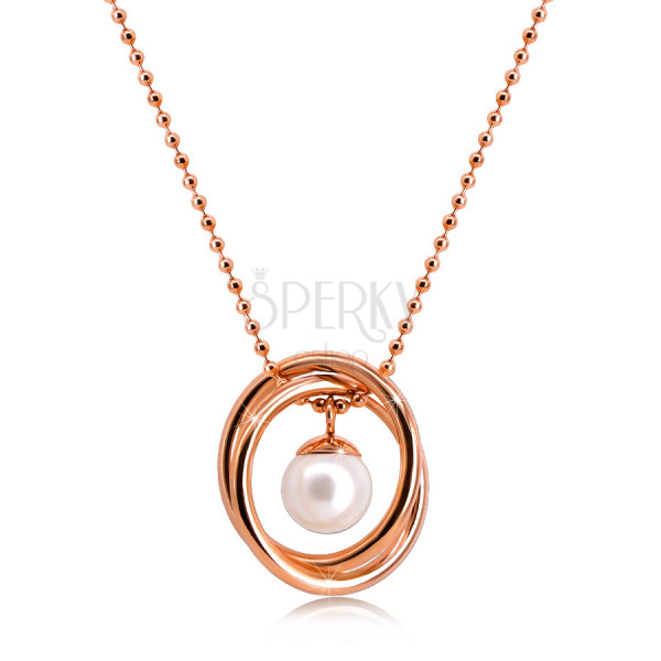 Steel necklace in a copper colour – bead chain, two crossed rings, pearlescent bead