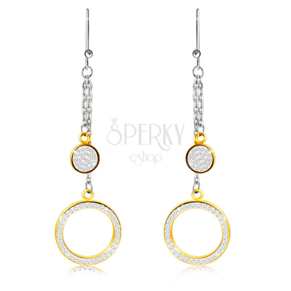 Hanging steel earrings - ring and circle adorned with clear stones, gold color, African hook