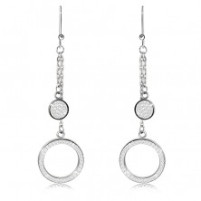 Hanging steel earrings - ring and circle adorned with clear stones, silver color, African hook