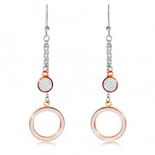 Hanging steel earrings - ring and circle adorned with clear stones, copper color, African hook