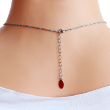 Steel necklace – ring with a Greek pattern, pearlescent bead