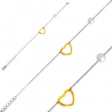 Steel bracelet with a pearlescent bead, heart outline in a golden colour
