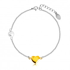 Steel bracelet – smooth glossy heart in a golden colour, pearlescent bead, fine chain
