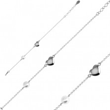 Steel bracelet – smooth glossy heart in a silver colour, pearlescent bead, fine chain