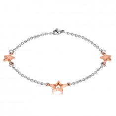 Steel bracelet – three stars in a copper colour, fine chain