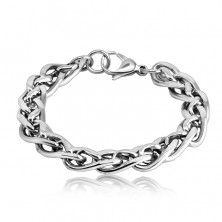 Thick steel bracelet – shiny small and large slightly twisted links, lobster claw