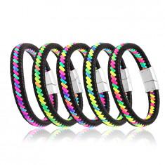 Black leather bracelet – braided multicoloured strings, plug-in closure
