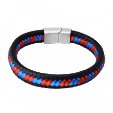 Black leather bracelet – braided red and blue strings, plug-in closure