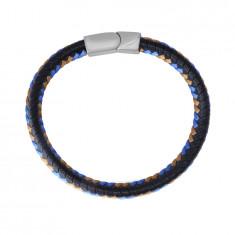 Black leather bracelet – braided brown and blue strings, plug-in closure