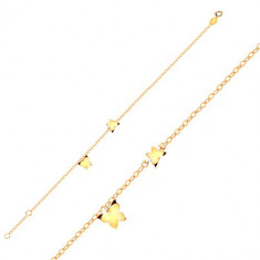 9K Gold bracelet – butterflies in yellow gold, glossy chain formed of oval links