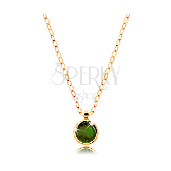 585 Gold necklace – round olive-green zircon, glossy chain made of oval links