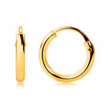 Children's earrings in yellow 585 gold - small hoops, shiny rounded shoulders, 10 mm