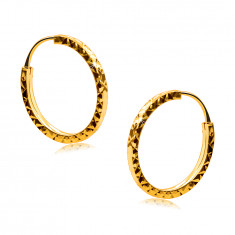 Earrings in 585 yellow gold - hoops decorated with diamond cut, square shoulders, 14 mm