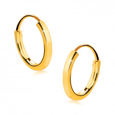 Small round earrings in 14K gold - thin square shoulders, shiny surface, 13 mm