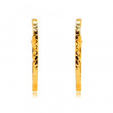 Round earrings in 585 yellow gold decorated with diamond cut, square shoulders, 18 mm