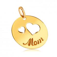 "Flat 585 gold pendant - cutouts of two hearts, engraved inscription ""Mom"", shiny circle"