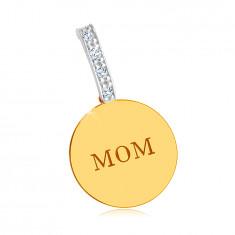 "Combined 14K gold pendant - glossy flat circle, ""MOM"" inscription, zirconic line"