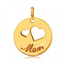 "Flat 375 gold pendant - cutouts of two hearts, engraved inscription ""Mom"", shiny circle"