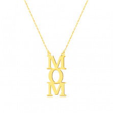 """Necklace in yellow 9K gold - """"MOM"""" inscription, letters under each other, chain of tiny rings"""