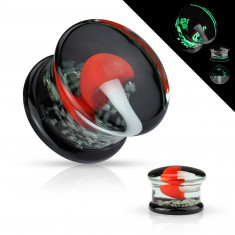 Ear plug made of pyrex glass - moulded with a white mushroom with a red cap