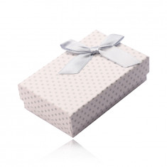 Rectangular box for earrings, necklace and rings, white surface, gray dots and bowknot