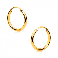 Round golden earrings in 9K gold – thin rounded shoulders, smooth and glossy surface, 13mm