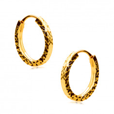 Earrings in yellow 375 gold - hoops are decorated with diamond cut, square shoulders, 12 mm