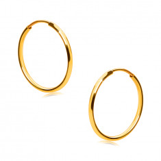 Golden round earrings in 9K gold - thin round shoulders, smooth and shiny surface, 15 mm
