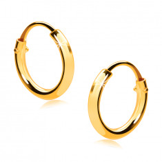 Children's earrings in yellow 375 gold - small hoops, shiny rounded shoulders, 10 mm