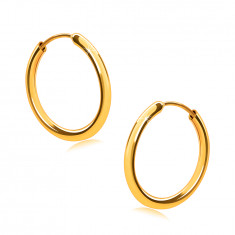 Golden earrings in 9K gold, hoops, round shoulders, smooth and shiny surface, 14 mm
